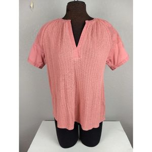 Lucky Brand Embroidered Short sleeve top M NWT